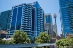 Innenstadt mit Blick auf den ATM-Tower, Sydney