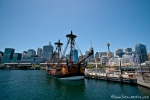 Blick von Darling Harbour auf die Skyline von Sydney