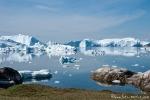 Riesige Eisberge stauen sich am Eingang der Diskobucht