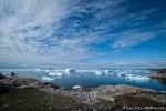 Blick auf die Eisberge der Diskobucht - Ilulissat