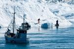 Die Fischer laufen sogar auf den Eisbergen herum