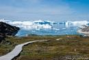 Hier mündet der Kangia-Fjord in die Diskobucht und hier stauen sich die Eisberge