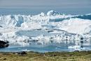 Riesige Eisberge stauen sich, bevor sie in die Diskobucht treiben - Ilulissat