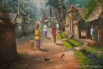 Wandbild im Puri Taman Sari