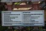 Die Tempelregeln, die nicht nur im Pura Luhur Batukaru in Tabanan gelten.