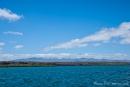 Vor uns liegt die Insel Santa Cruz