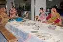 Freiwillige Helfer in der Tempelküche, Gurudwara Bangla Sahib, Delhi